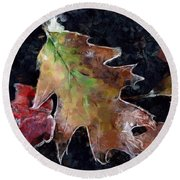 Leaves And Frost Round Beach Towel
