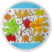 Leaves Are Falling Round Beach Towel