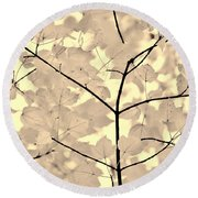 Leaves Fade To Beige Melody Round Beach Towel by Jennie Marie Schell
