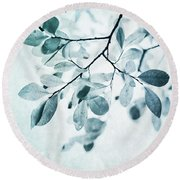 Leaves In Dusty Blue Round Beach Towel