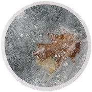 Leaves In Ice Round Beach Towel