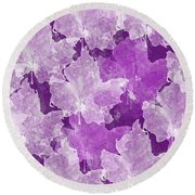 Leaves In Radiant Orchid Round Beach Towel