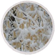 Leaves Of Gold Round Beach Towel