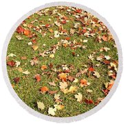 Leaves On Grass Round Beach Towel