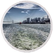 Leaving San Francisco Round Beach Towel