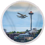 Leaving Seattle Round Beach Towel