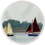 Leaving The Colne Round Beach Towel