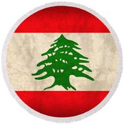 Lebanon Flag Vintage Distressed Finish Round Beach Towel