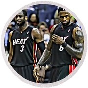 Lebron James And Dwyane Wade Round Beach Towel