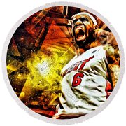 Lebron James Art Poster Round Beach Towel by Florian Rodarte