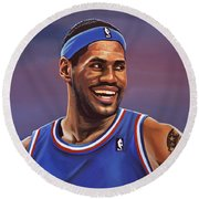 Lebron James  Round Beach Towel by Paul Meijering