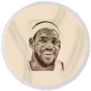 Lebron James Round Beach Towel by Tamir Barkan