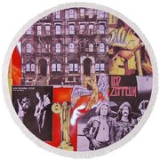 Led Zeppelin  Collage Number Two Round Beach Towel