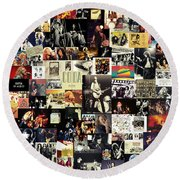 Led Zeppelin Collage Round Beach Towel