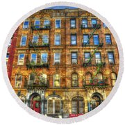 Led Zeppelin Physical Graffiti Building In Color Round Beach Towel