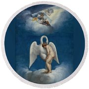 Leda And The Swan Round Beach Towel