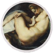 Leda And The Swan Round Beach Towel by Rubens