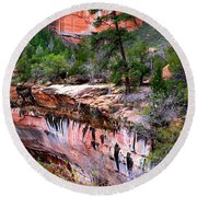 Ledge At Emerald Pools In Zion National Park Round Beach Towel