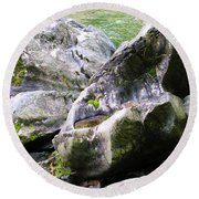 Ledge Worn Smooth By Centuries Of Water And Ice Round Beach Towel