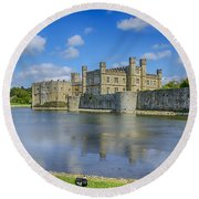 Leeds Castle Moat 2 Round Beach Towel