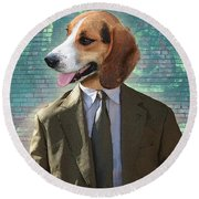 Legal Beagle Round Beach Towel by Nikki Smith