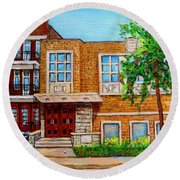Legare And Hutchison Synagogue Montreal Round Beach Towel