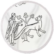 Legend Of The Priest And People Changed Round Beach Towel