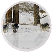 Legends Of The Lamar Valley Round Beach Towel