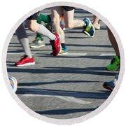 Legs Of Runners At Marathon Round Beach Towel