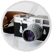 Leica M3 With Leather Strap Round Beach Towel