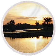 Lely Sunrise Over The Flamingo Round Beach Towel