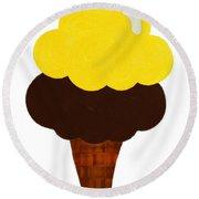Lemon And Chocolate Ice Cream Round Beach Towel