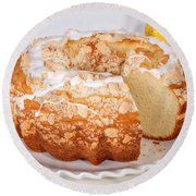 Lemon Bundtcake With Wedge Cut Out Round Beach Towel