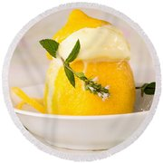 lemon Sorbet   Round Beach Towel