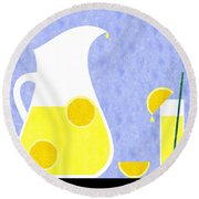 Lemonade And Glass Blue Round Beach Towel