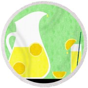 Lemonade And Glass Green Round Beach Towel