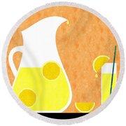 Lemonade And Glass Orange Round Beach Towel