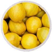Lemons 02 Round Beach Towel