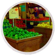 Lemons And Limes Farmers Market Food Stalls Market Vendors Vegetable Food Art Carole Spandau Round Beach Towel
