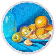 Lemons And Oranges Round Beach Towel
