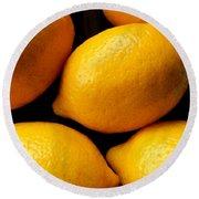 Lemons Round Beach Towel