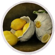 Lemons Today Round Beach Towel by Diana Angstadt