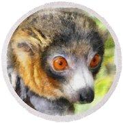 Lemur 004 Round Beach Towel
