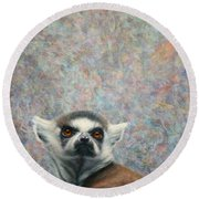 Lemur Round Beach Towel by James W Johnson