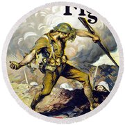 Lend The Way They Fight, 1918 Round Beach Towel