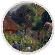 Lenna By A Summer House Round Beach Towel by William James Glackens