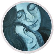 Lennon And Ono Round Beach Towel