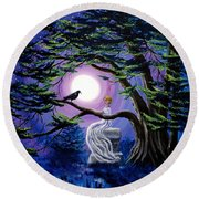 Lenore By A Cypress Tree Round Beach Towel
