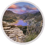 Lenticular Clouds At Canales Lake Round Beach Towel