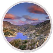 Lenticular Clouds At The Red Sunset Round Beach Towel